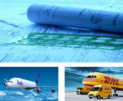 Blueprints, Fedex shipping center, DHL shipping center